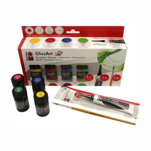 Набор витражных красок Marabu  GlasArt на основе растворителя 4х15 мл + контур + кисть