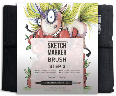 Маркеры набор SketchMarker Brush Шаг 1 36 шт, SMB-36STEP3