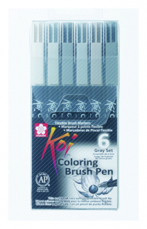 Набор маркеров Koi Coloring Brush Pen, GRAY 6 цв., Sakura XBR-6