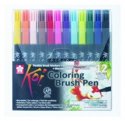 Набор маркеров Koi Coloring Brush Pen, 12 цв., Sakura XBR-12