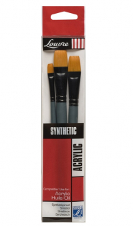 Кисти синтетика набор LOUVRE BRUSH плоские 8,16,24 LG